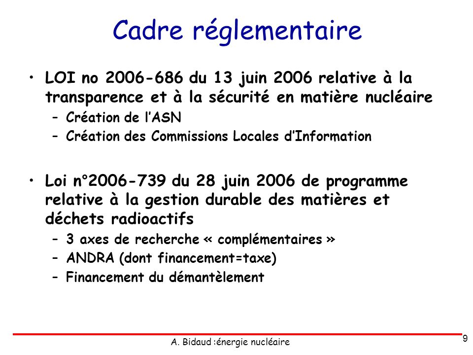 A. Bidaud :énergie nucléaire Cadre réglementaire LOI no 2006-686 du 13 juin 2006 relative à la transparence et à la sécurité en matière nucléaire –Cré