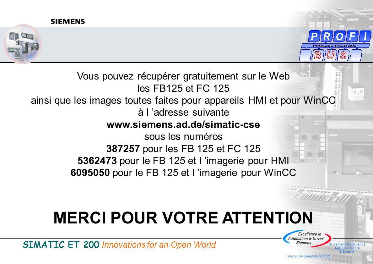 SIMATIC ET 200 Innovations for an Open World © Siemens SAS France A&D 31/05/2014 B.Bouard Folio 20 de DiagnosticDP.ppt Vous pouvez récupérer gratuitement sur le Web les FB125 et FC 125 ainsi que les images toutes faites pour appareils HMI et pour WinCC à l adresse suivante www.siemens.ad.de/simatic-cse sous les numéros 387257 pour les FB 125 et FC 125 5362473 pour le FB 125 et l imagerie pour HMI 6095050 pour le FB 125 et l imagerie pour WinCC MERCI POUR VOTRE ATTENTION