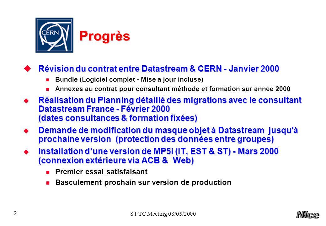ST TC Meeting 08/05/2000 Connexion a distance au CERN pour les utilisateurs MP5 Serveur DB Navigateur Gmaotech MP5 Oracle Web Application Serveur Poste client Serveur ACB Modem TCP/IP CERN Java 3