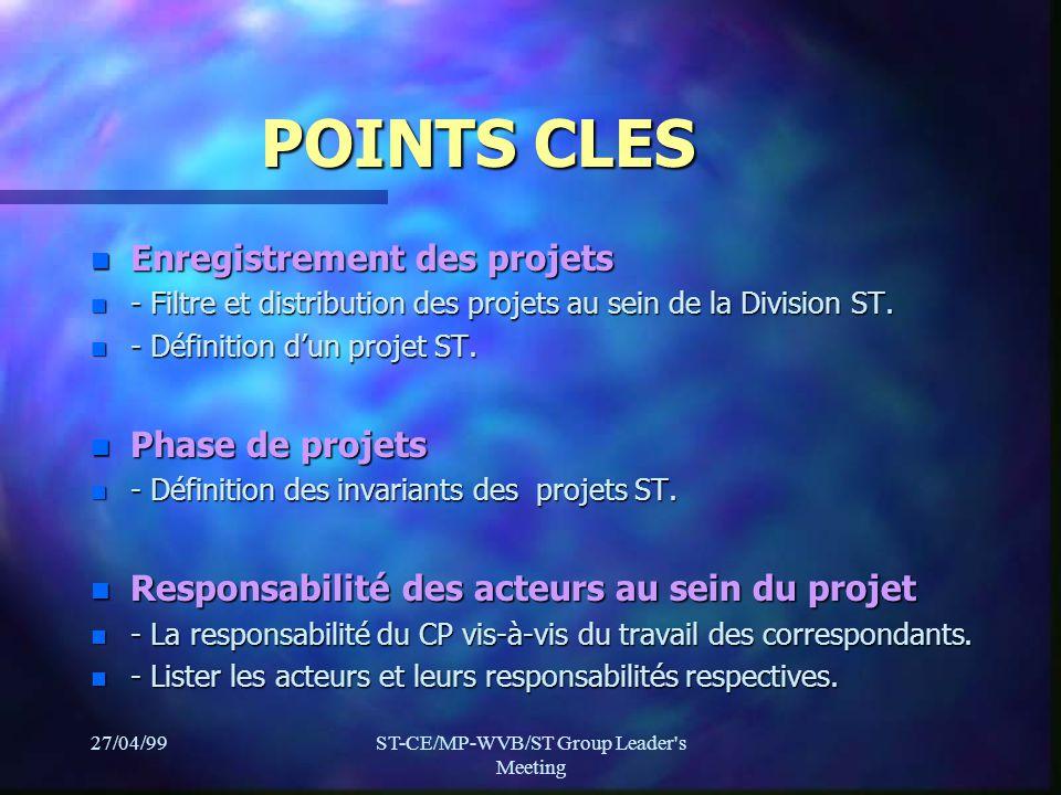 27/04/99ST-CE/MP-WVB/ST Group Leader s Meeting POINTS CLES n Enregistrement des projets n - Filtre et distribution des projets au sein de la Division ST.