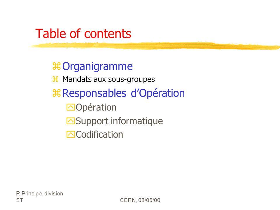R.Principe, division STCERN, 08/05/00 Table of contents zOrganigramme zMandats aux sous-groupes zResponsables dOpération yOpération ySupport informati
