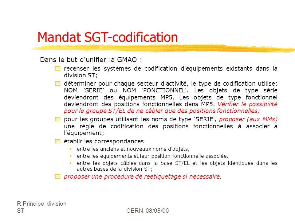 R.Principe, division STCERN, 08/05/00 Mandat SGT-codification Dans le but d'unifier la GMAO : yrecenser les systèmes de codification d'équipements exi