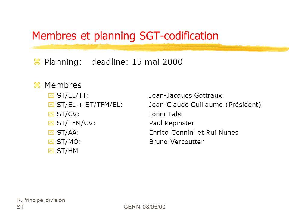 R.Principe, division STCERN, 08/05/00 Membres et planning SGT-codification zPlanning:deadline: 15 mai 2000 zMembres yST/EL/TT: Jean-Jacques Gottraux yST/EL + ST/TFM/EL: Jean-Claude Guillaume (Président) yST/CV: Jonni Talsi yST/TFM/CV: Paul Pepinster yST/AA: Enrico Cennini et Rui Nunes yST/MO: Bruno Vercoutter yST/HM