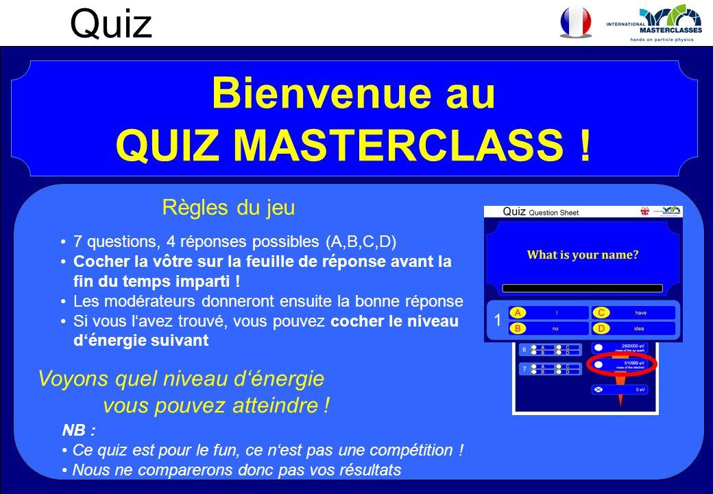 Quiz Bienvenue au QUIZ MASTERCLASS ! Règles du jeu 7 questions, 4 réponses possibles (A,B,C,D) Cocher la vôtre sur la feuille de réponse avant la fin