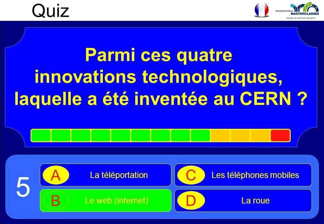 Parmi ces quatre innovations technologiques, laquelle a été inventée au CERN ? 5 Quiz La téléportation A Le web (internet) B Les téléphones mobiles C
