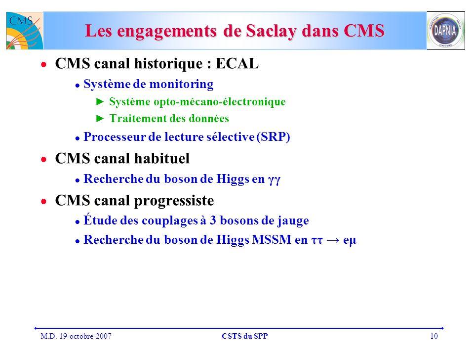 M.D. 19-octobre-2007CSTS du SPP10 Les engagements de Saclay dans CMS CMS canal historique : ECAL Système de monitoring Système opto-mécano-électroniqu
