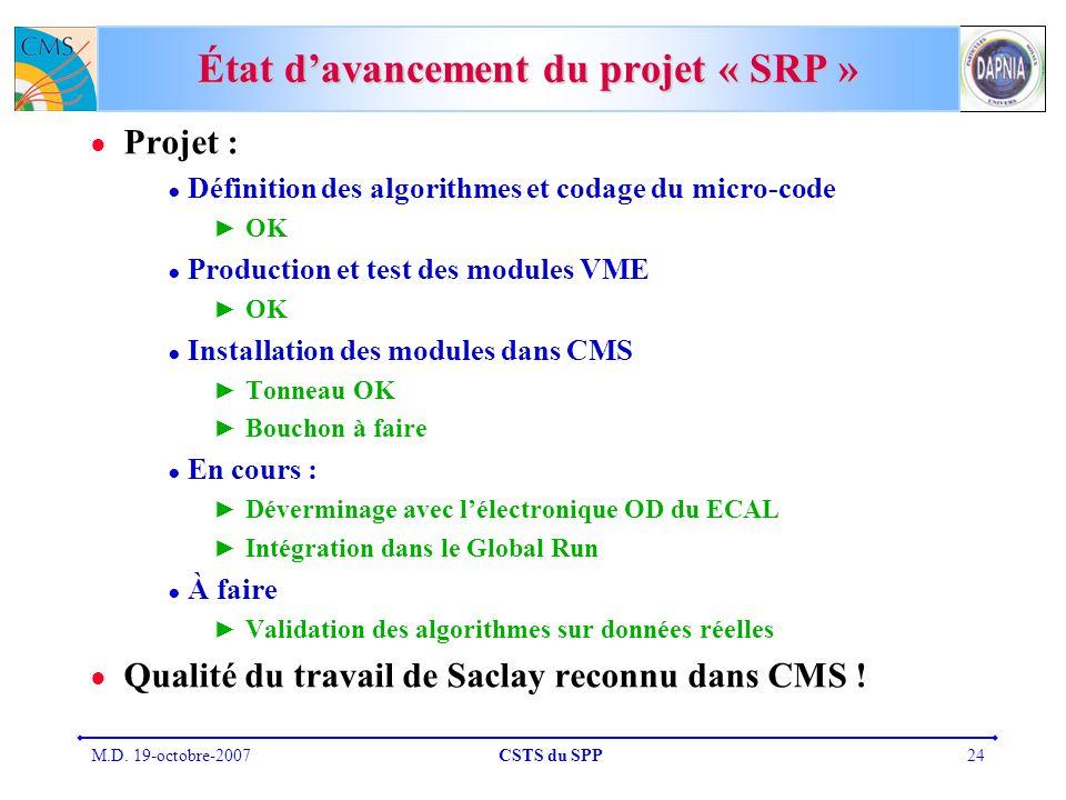 M.D. 19-octobre-2007CSTS du SPP24 État davancement du projet « SRP » Projet : Définition des algorithmes et codage du micro-code OK Production et test