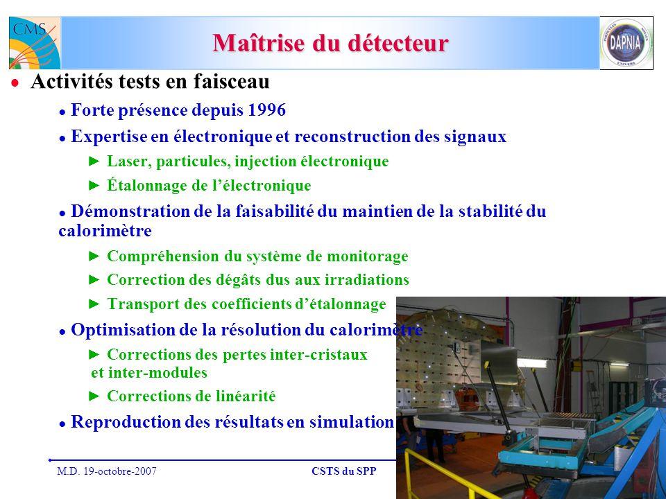 M.D. 19-octobre-2007CSTS du SPP25 Maîtrise du détecteur Activités tests en faisceau Forte présence depuis 1996 Expertise en électronique et reconstruc