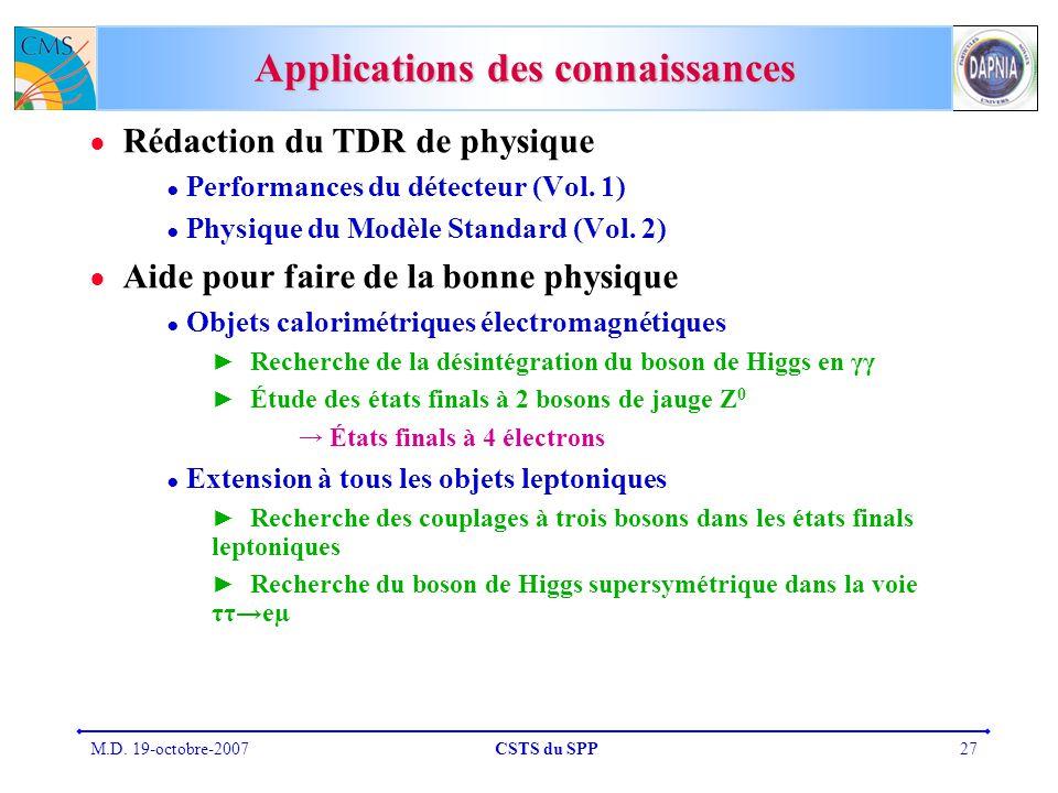 M.D. 19-octobre-2007CSTS du SPP27 Applications des connaissances Rédaction du TDR de physique Performances du détecteur (Vol. 1) Physique du Modèle St