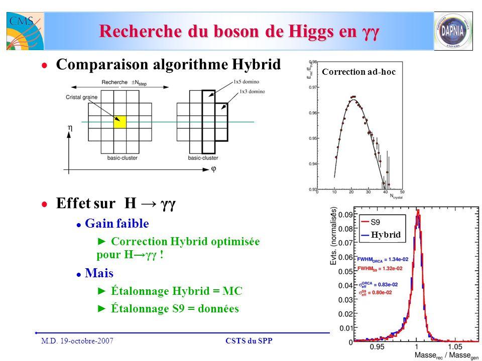 M.D. 19-octobre-2007CSTS du SPP30 Recherche du boson de Higgs en γγ Comparaison algorithme Hybrid Effet sur H γγ Gain faible Correction Hybrid optimis