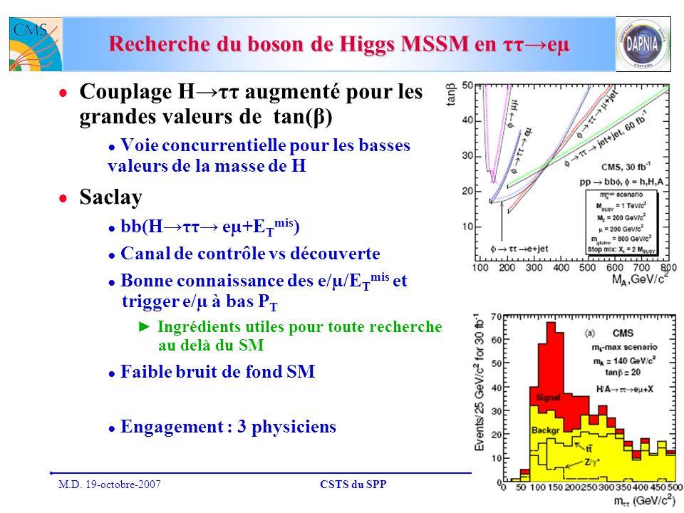 M.D. 19-octobre-2007CSTS du SPP33 Recherche du boson de Higgs MSSM en ττeµ Couplage Hττ augmenté pour les grandes valeurs de tan(β) Voie concurrentiel