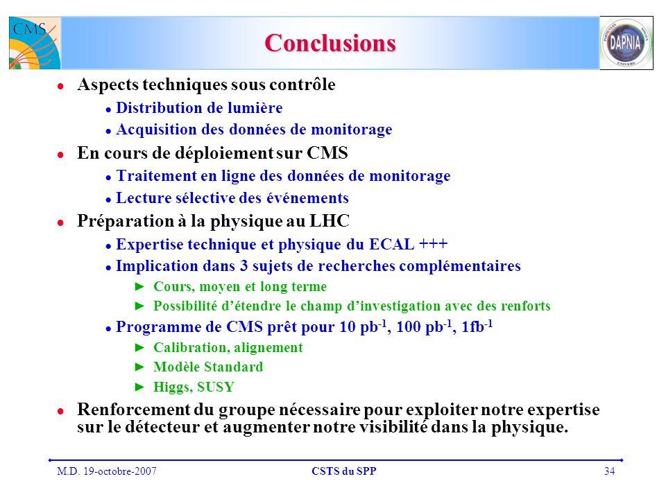 M.D. 19-octobre-2007CSTS du SPP34 Conclusions Aspects techniques sous contrôle Distribution de lumière Acquisition des données de monitorage En cours