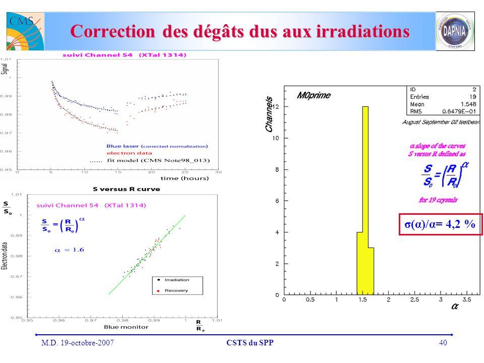 M.D. 19-octobre-2007CSTS du SPP40 Correction des dégâts dus aux irradiations σ(α)/α= 4,2 %