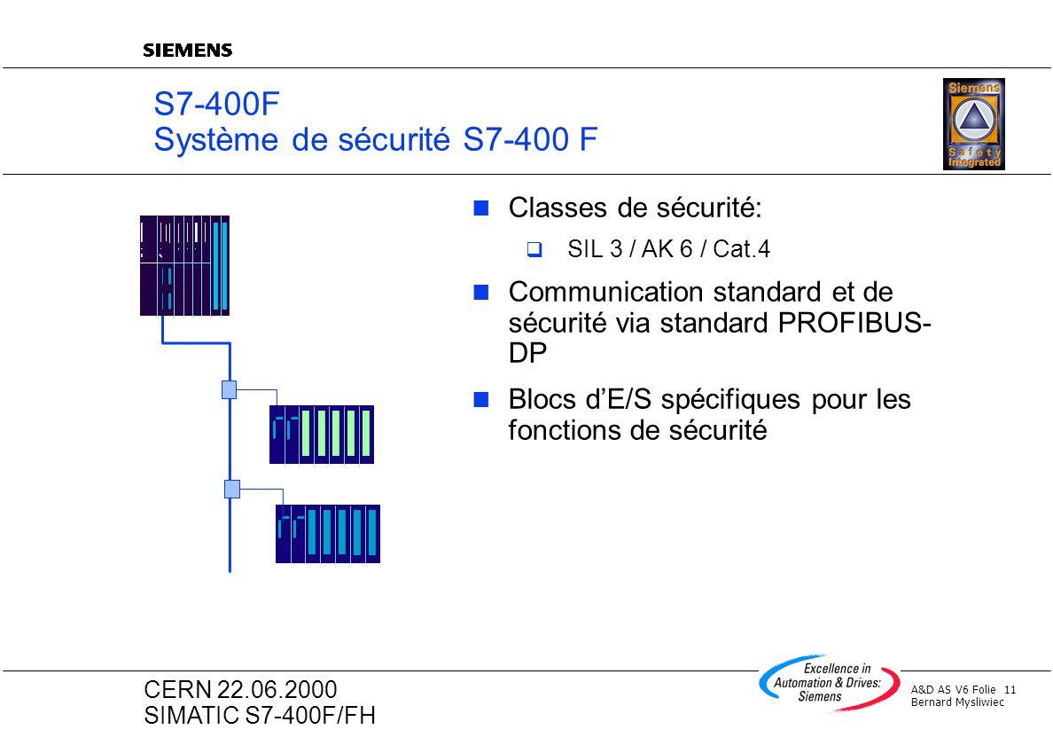 A&D AS V6 Folie 11 Bernard Mysliwiec CERN 22.06.2000 SIMATIC S7-400F/FH S7-400F Système de sécurité S7-400 F Classes de sécurité: SIL 3 / AK 6 / Cat.4