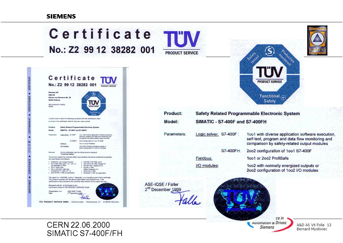 A&D AS V6 Folie 13 Bernard Mysliwiec CERN 22.06.2000 SIMATIC S7-400F/FH