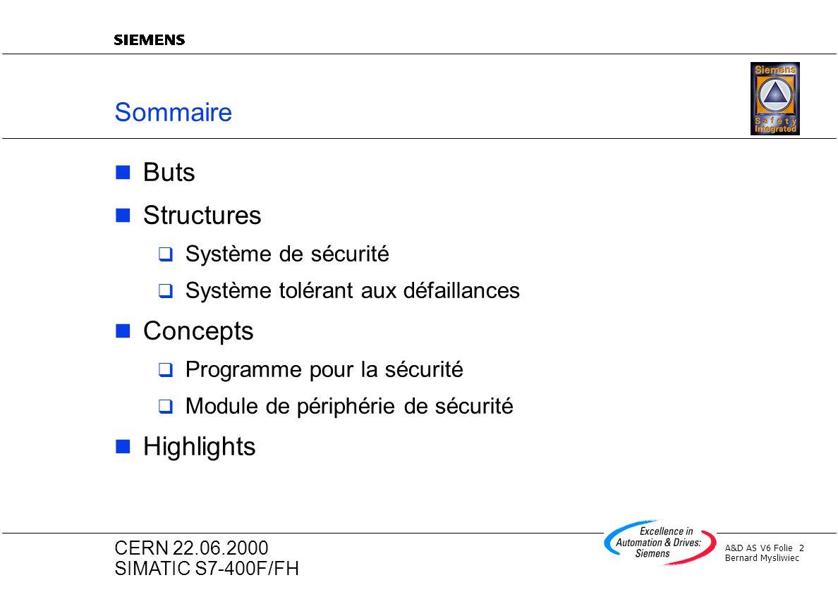 A&D AS V6 Folie 2 Bernard Mysliwiec CERN 22.06.2000 SIMATIC S7-400F/FH Sommaire Buts Structures Système de sécurité Système tolérant aux défaillances