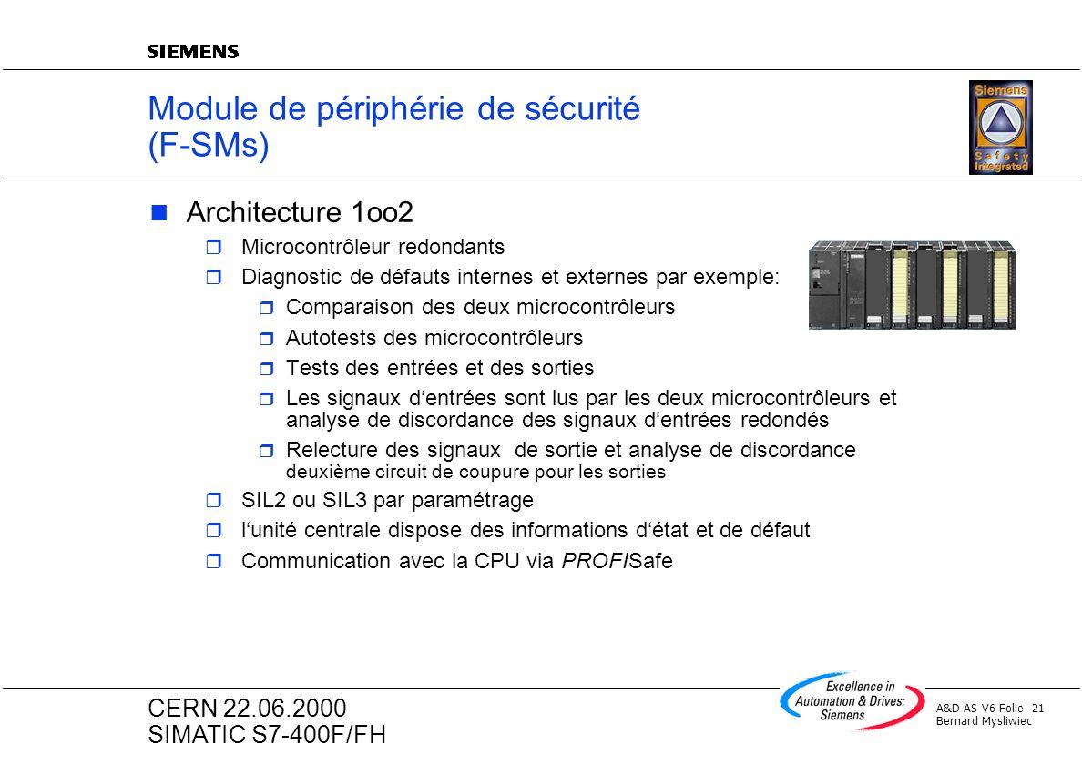 A&D AS V6 Folie 21 Bernard Mysliwiec CERN 22.06.2000 SIMATIC S7-400F/FH Module de périphérie de sécurité (F-SMs) Architecture 1oo2 r Microcontrôleur r