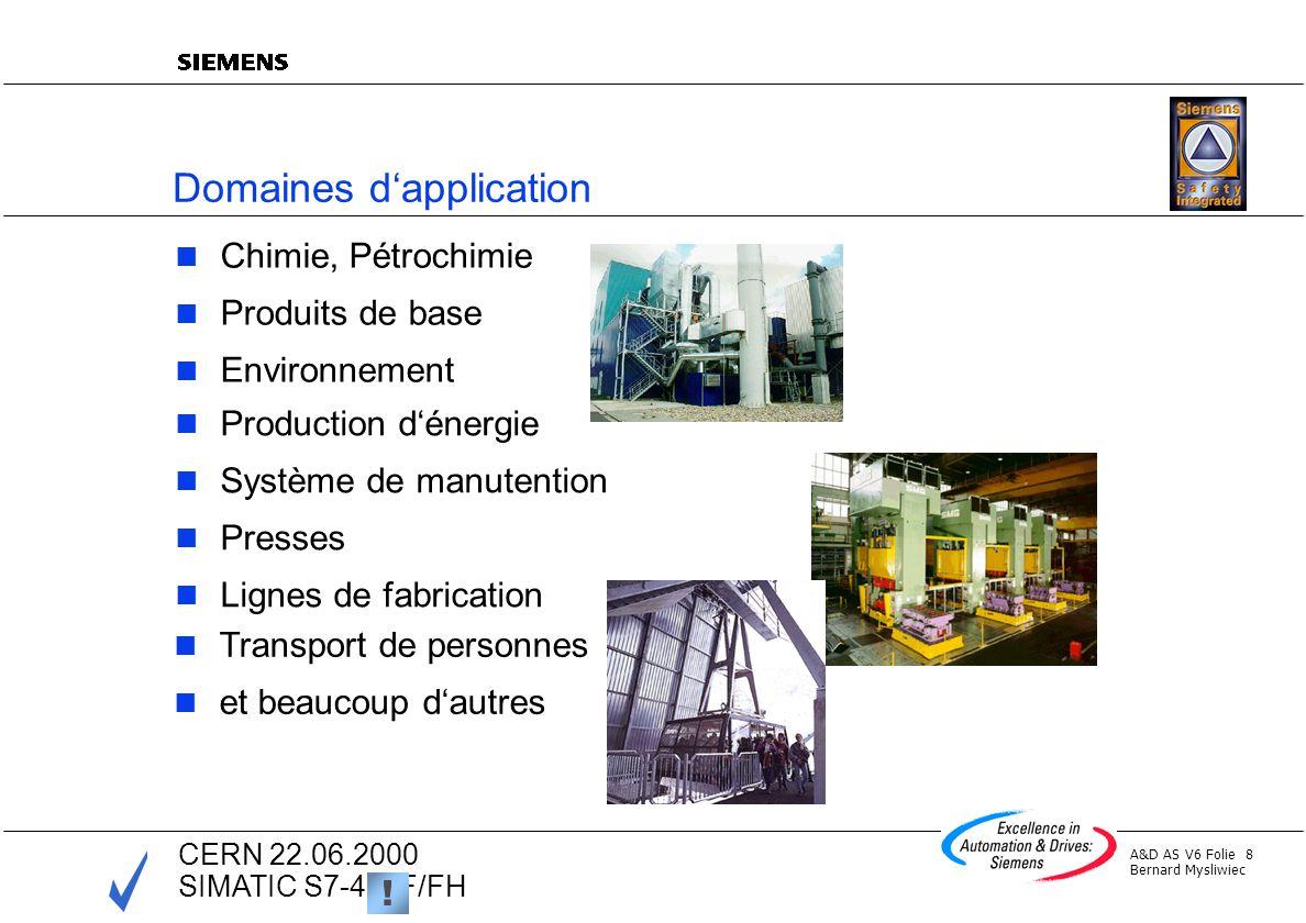 A&D AS V6 Folie 8 Bernard Mysliwiec CERN 22.06.2000 SIMATIC S7-400F/FH Domaines dapplication Chimie, Pétrochimie Produits de base Environnement ! Prod