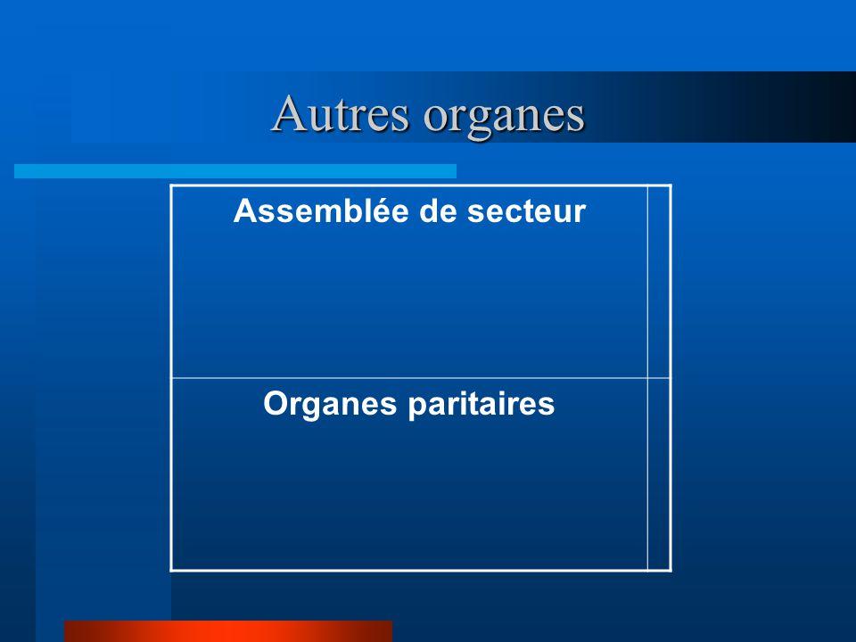 Autres organes Assemblée de secteur Organes paritaires