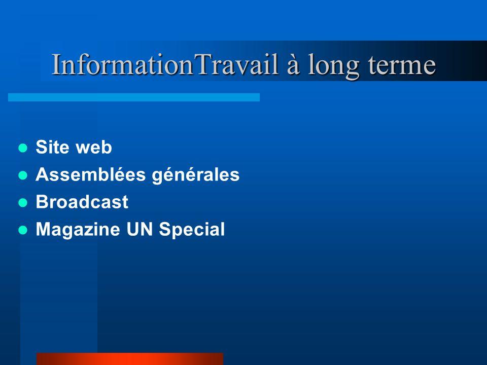 InformationTravail à long terme Site web Assemblées générales Broadcast Magazine UN Special