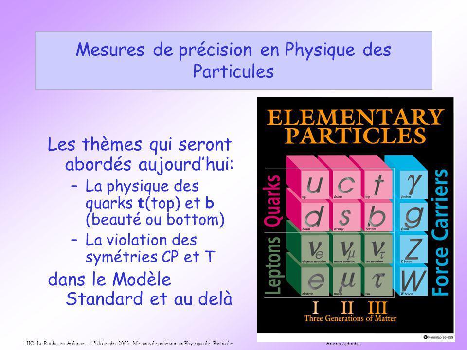 JJC -La Roche-en-Ardennes -1-5 décembre 2003 - Mesures de précision en Physique des Particules Amina Zghiche 1 Mesures de précision en Physique des Particules Les thèmes qui seront abordés aujourdhui: –La physique des quarks t (top) et b (beauté ou bottom) –La violation des symétries CP et T dans le Modèle Standard et au delà
