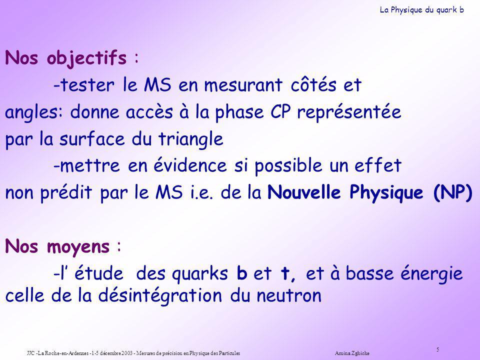JJC -La Roche-en-Ardennes -1-5 décembre 2003 - Mesures de précision en Physique des Particules Amina Zghiche 5 Nos objectifs : -tester le MS en mesurant côtés et angles: donne accès à la phase CP représentée par la surface du triangle -mettre en évidence si possible un effet non prédit par le MS i.e.
