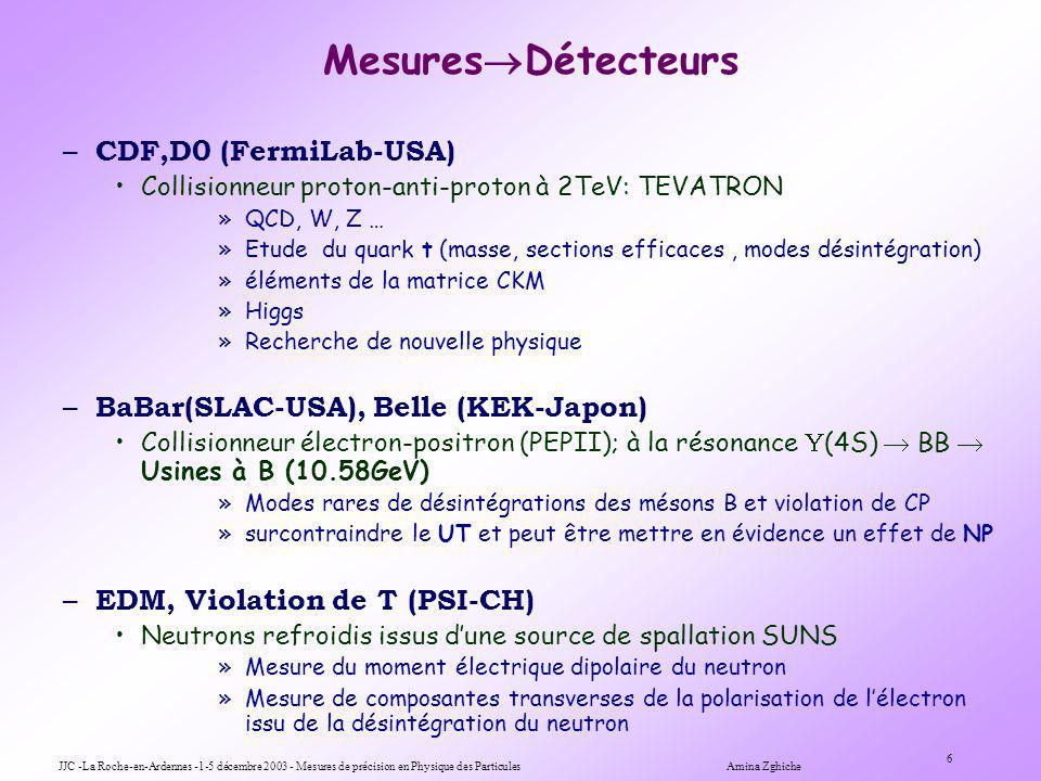 JJC -La Roche-en-Ardennes -1-5 décembre 2003 - Mesures de précision en Physique des Particules Amina Zghiche 6 Mesures Détecteurs – CDF,D0 (FermiLab-USA) Collisionneur proton-anti-proton à 2TeV: TEVATRON »QCD, W, Z … »Etude du quark t (masse, sections efficaces, modes désintégration) »éléments de la matrice CKM »Higgs »Recherche de nouvelle physique – BaBar(SLAC-USA), Belle (KEK-Japon) Collisionneur électron-positron (PEPII); à la résonance (4S) BB Usines à B (10.58GeV) »Modes rares de désintégrations des mésons B et violation de CP »surcontraindre le UT et peut être mettre en évidence un effet de NP – EDM, Violation de T (PSI-CH) Neutrons refroidis issus dune source de spallation SUNS »Mesure du moment électrique dipolaire du neutron »Mesure de composantes transverses de la polarisation de lélectron issu de la désintégration du neutron