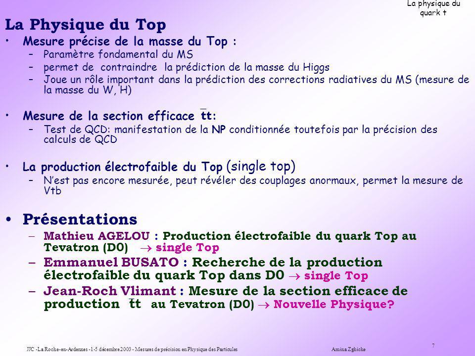 JJC -La Roche-en-Ardennes -1-5 décembre 2003 - Mesures de précision en Physique des Particules Amina Zghiche 7 La physique du quark t La Physique du Top Mesure précise de la masse du Top : –Paramètre fondamental du MS –permet de contraindre la prédiction de la masse du Higgs –Joue un rôle important dans la prédiction des corrections radiatives du MS (mesure de la masse du W, H) Mesure de la section efficace tt : –Test de QCD: manifestation de la NP conditionnée toutefois par la précision des calculs de QCD La production électrofaible du Top (single top) –Nest pas encore mesurée, peut révéler des couplages anormaux, permet la mesure de Vtb Présentations – Mathieu AGELOU : Production électrofaible du quark Top au Tevatron (D0) single Top – Emmanuel BUSATO : Recherche de la production électrofaible du quark Top dans D0 single Top – Jean-Roch Vlimant : Mesure de la section efficace de production tt au Tevatron (D0) Nouvelle Physique
