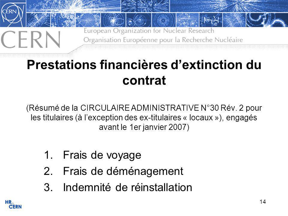 14 Prestations financières dextinction du contrat (Résumé de la CIRCULAIRE ADMINISTRATIVE N°30 Rév.