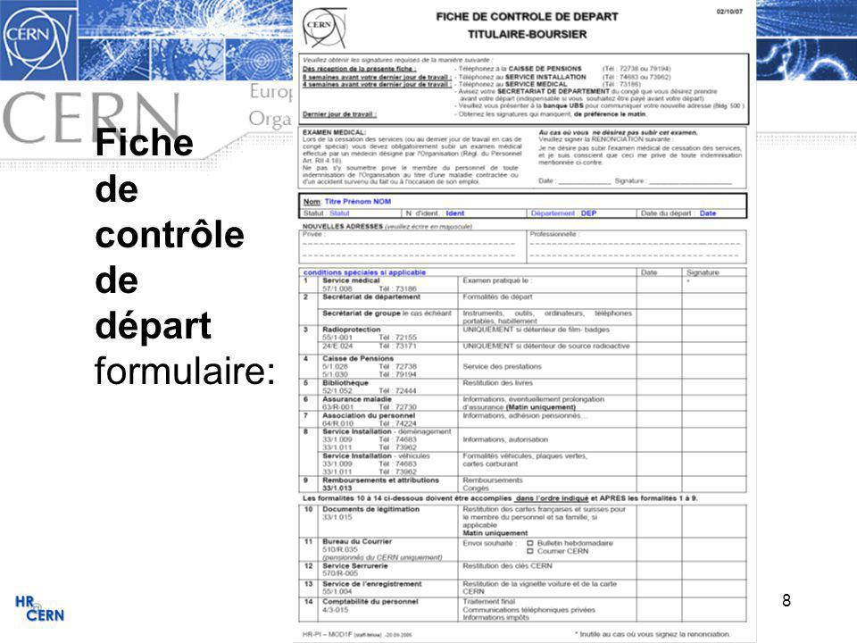 8 Fiche de contrôle de départ formulaire: