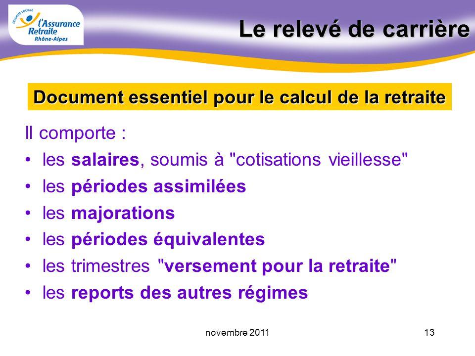 12novembre 2011 La retraite du régime général Le relevé de carrière Le calcul de la retraite personnelle Les prélèvements sociaux La pension de révers