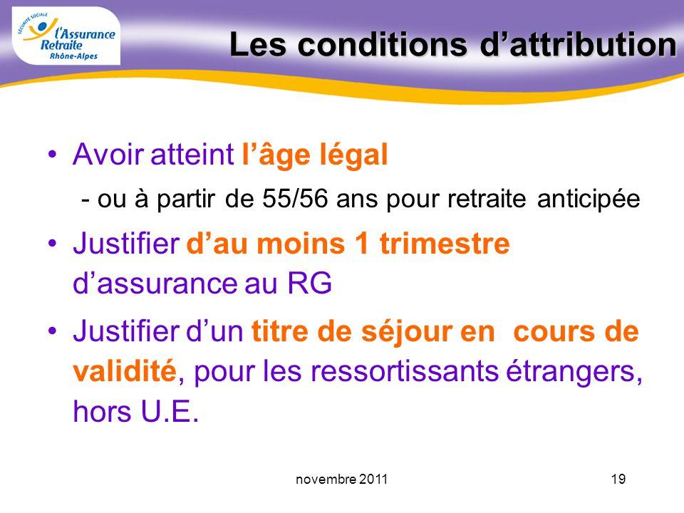 18novembre 2011 Retraite anticipée Adulte handicapé Travailleur handicapé Retraite anticipée « carrières longues » Taux « plein » 65 ans pour situatio