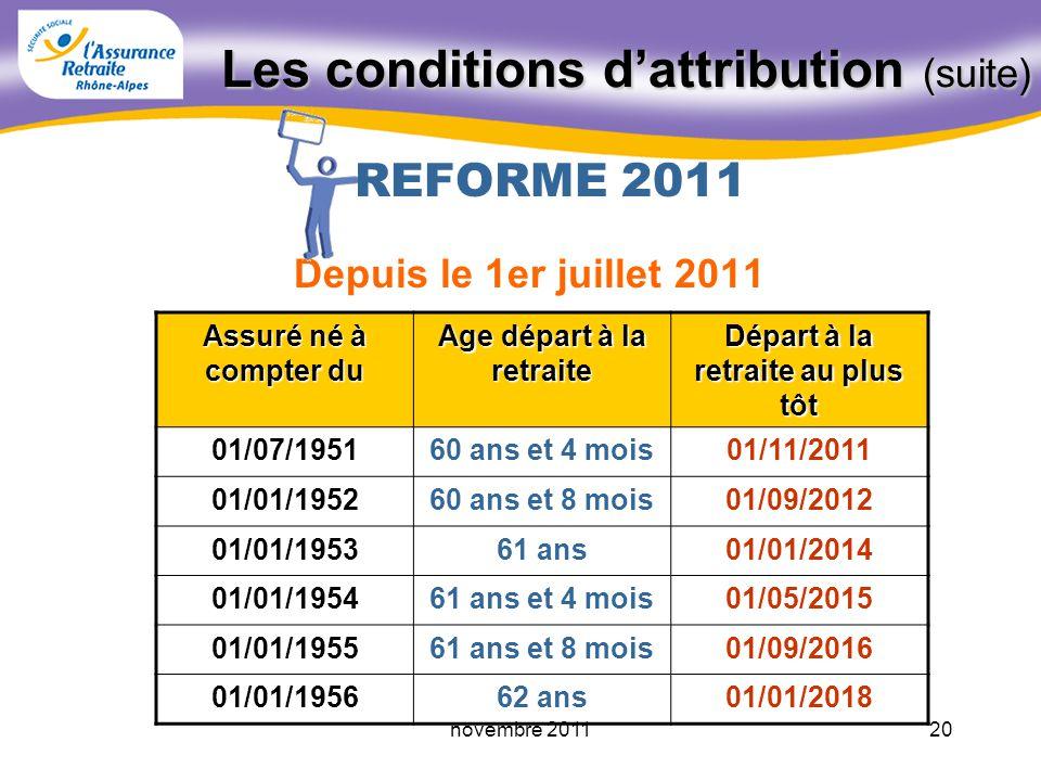 19novembre 2011 Les conditions dattribution Avoir atteint lâge légal - ou à partir de 55/56 ans pour retraite anticipée Justifier dau moins 1 trimestr