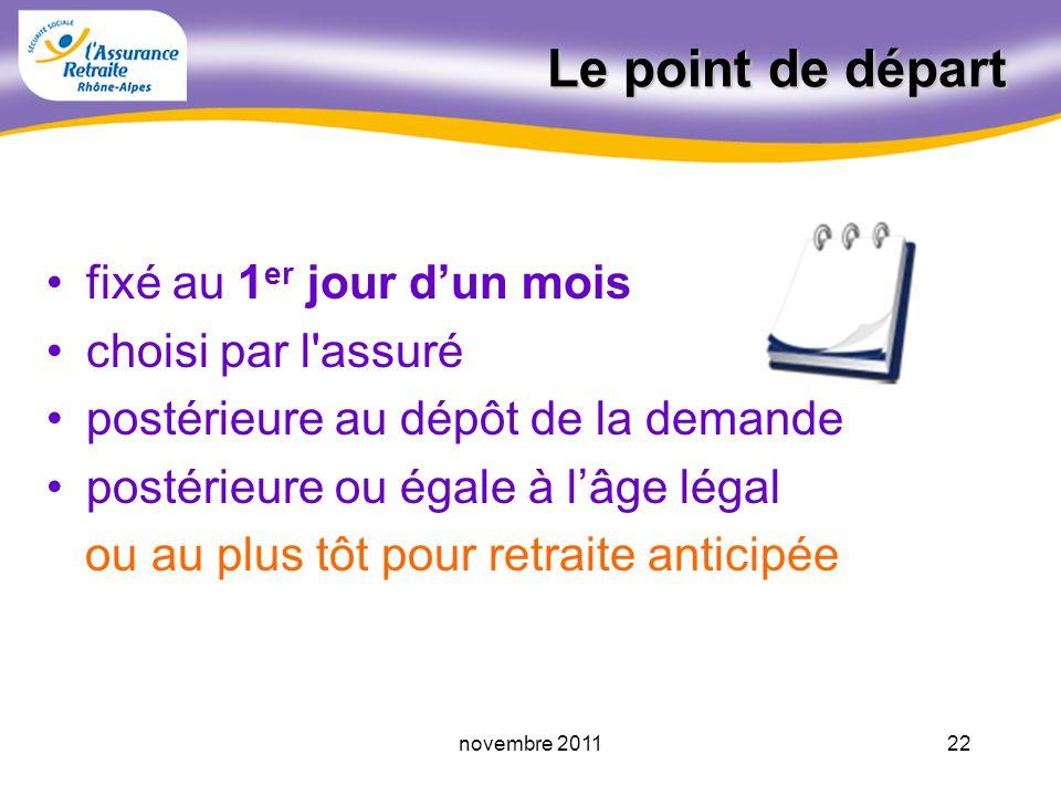 21novembre 2011 Les conditions dattribution (suite) « Ajustement » annoncé le 07/11/2011 par F. Fillon Assuré né à compter du Age départ à la retraite