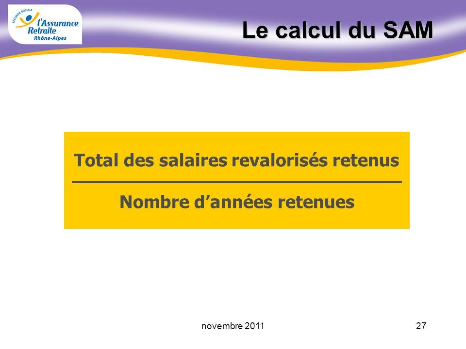 26novembre 2011 Les années exclues du SAM Les années pour lesquelles le salaire ne valide pas de trimestre Les années pour lesquelles un versement pour la retraite a été effectué Lannée du point de départ de la retraite