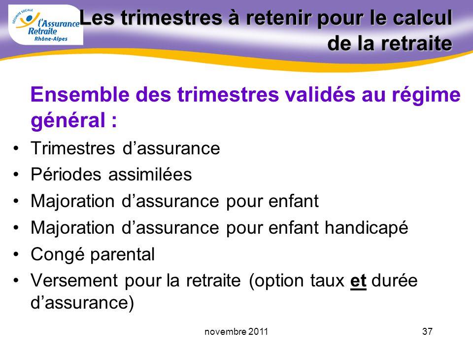 36novembre 2011 Les trimestres à retenir Montant annuel de la retraite = SAM Taux (%) nb TV au RG durée dassurance maxi retenue
