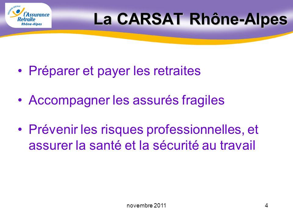 3novembre 2011 - un nouveau nom (ex CRAM) - une valeur : la Solidarité - 3 grandes missions de service public pour : les salariés les entreprises les retraités La CARSAT Rhône-Alpes