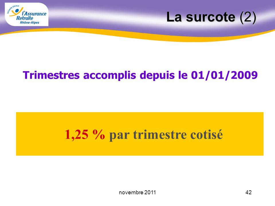 41novembre 2011 La surcote (1) Majoration appliquée sur le montant de la retraite et calculée en fonction du nombre de trimestres cotisés, à la fois après lâge légal après le 01.01.2004 au-delà de 160 166 trimestres, selon la classe dâge