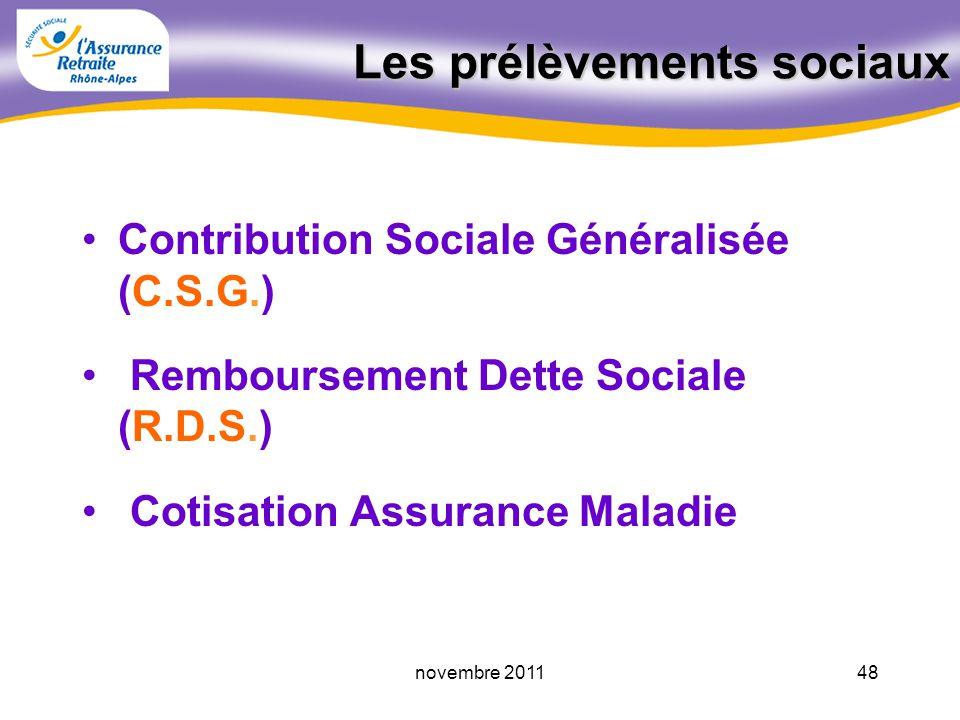 47novembre 2011 Les prélèvements sociaux A savoir