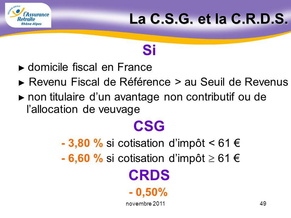 48novembre 2011 Les prélèvements sociaux Contribution Sociale Généralisée (C.S.G.) Remboursement Dette Sociale (R.D.S.) Cotisation Assurance Maladie