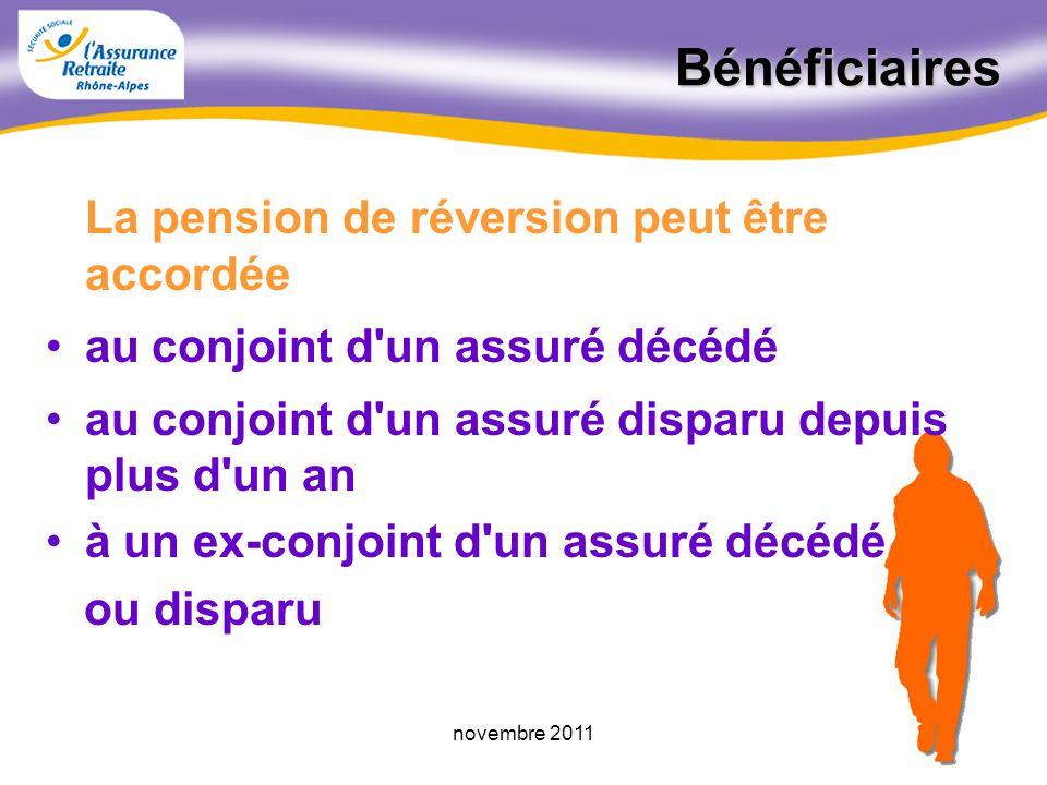 52novembre 2011 La pension de réversion A savoir