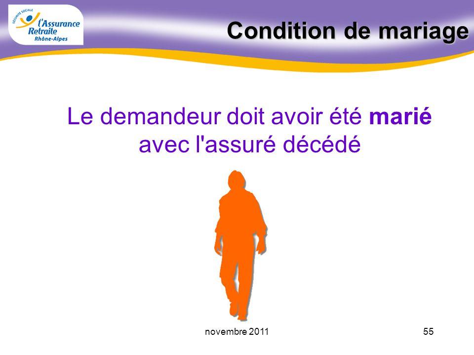 54novembre 2011 Réforme 2009 55 ans pour les PR prenant effet à compter du 01.01.2009 51 ans si décès avant le 01.01.2009 (ou disparition avant le 01.