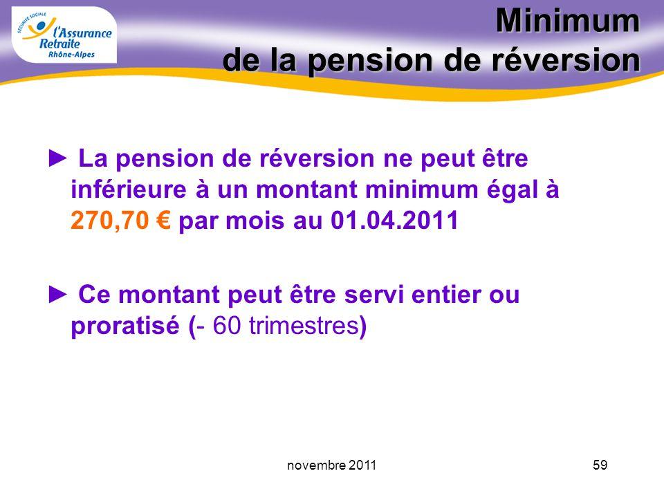 58novembre 2011 Calcul de la pension de réversion La pension de réversion est égale à 54% de la retraite dont bénéficiait ou aurait bénéficié l assuré décédé