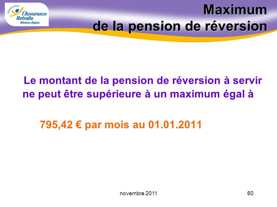 59novembre 2011 Minimum de la pension de réversion La pension de réversion ne peut être inférieure à un montant minimum égal à 270,70 par mois au 01.04.2011 Ce montant peut être servi entier ou proratisé (- 60 trimestres)