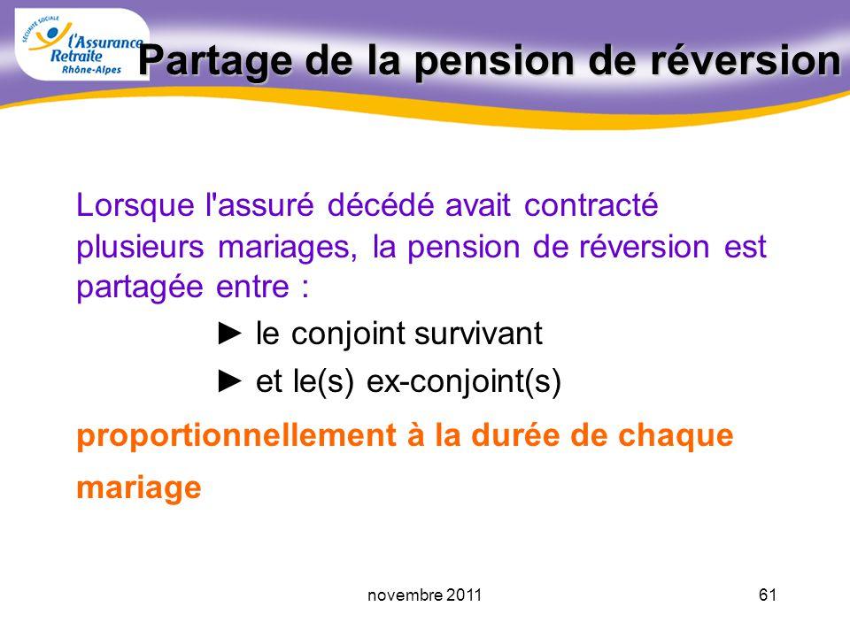 60novembre 2011 Maximum de la pension de réversion Le montant de la pension de réversion à servir ne peut être supérieure à un maximum égal à 795,42 par mois au 01.01.2011