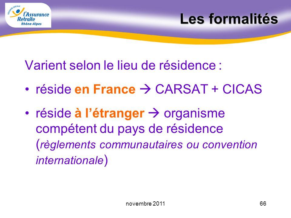 65novembre 2011 Les démarches