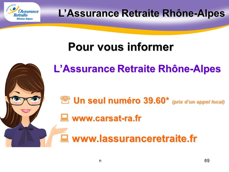 68novembre 2011 Les retraites complémentaires AGIRC et ARRCO AGIRC et ARRCO C.I.C.A.S. Centre dInformation et de Coordination de lAction Sociale 0.820
