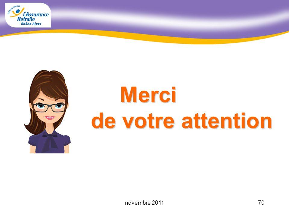 69novembre 2011 Pour vous informer LAssurance Retraite Rhône-Alpes Un seul numéro 39.60* (prix dun appel local) Un seul numéro 39.60* (prix dun appel