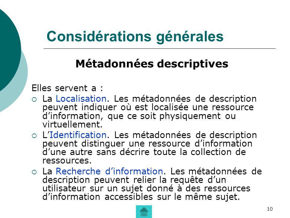 10 Considérations générales Métadonnées descriptives Elles servent a : La Localisation. Les métadonnées de description peuvent indiquer où est localis