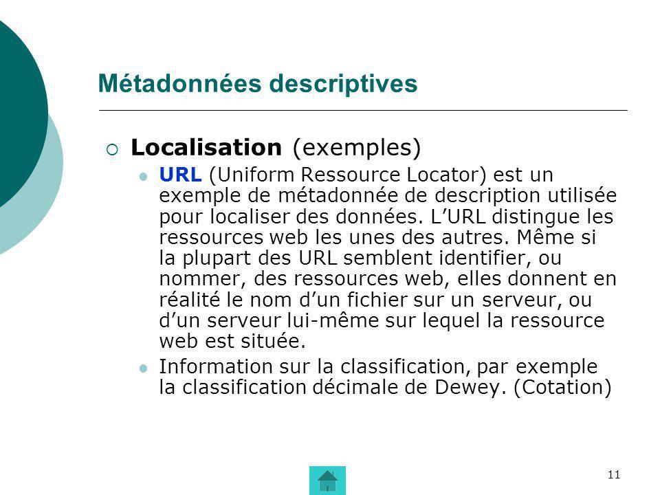 11 Métadonnées descriptives Localisation (exemples) URL (Uniform Ressource Locator) est un exemple de métadonnée de description utilisée pour localise
